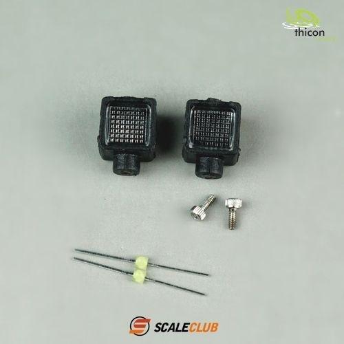 Headlamp rectangular with LED