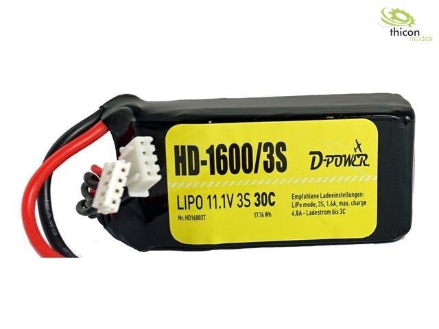 HD-1600 3S Lipo (11,1V) 30C - T-Stecker