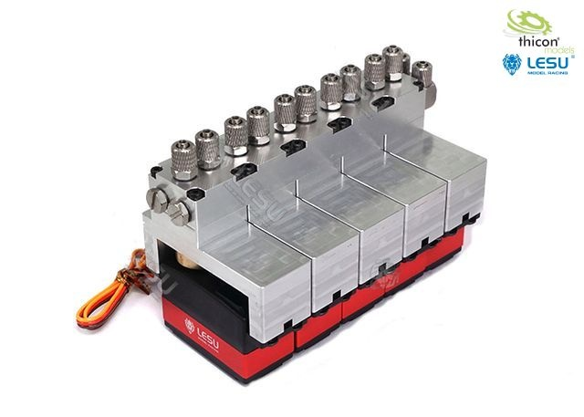 Hydraulic control valve aluminum 5-fold with servos
