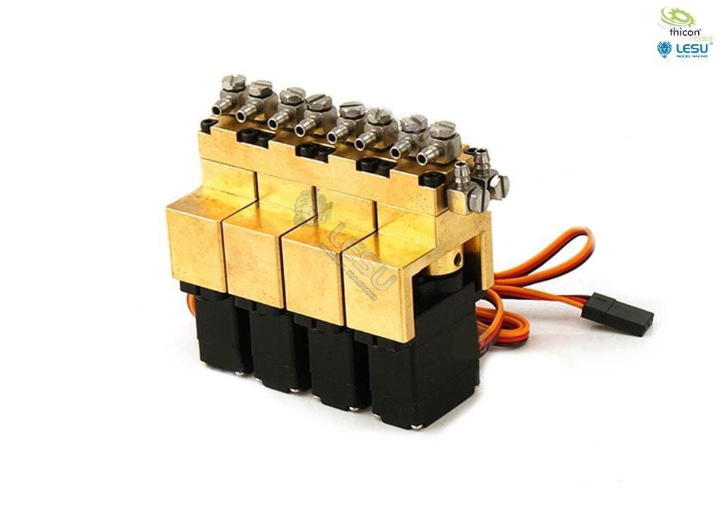 Hydraulic control valve 4-way brass with 12mm mini servos