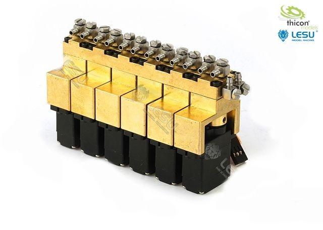 Control valve 6-way brass with 12mm mini servos