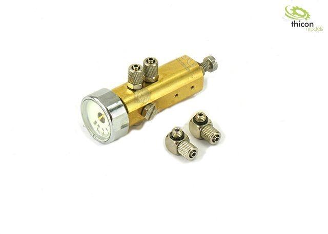 Hydraulic pressure limiter (DBV) with pressure gauge