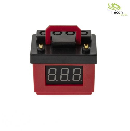 Red car battery with voltage display and lipo monitor