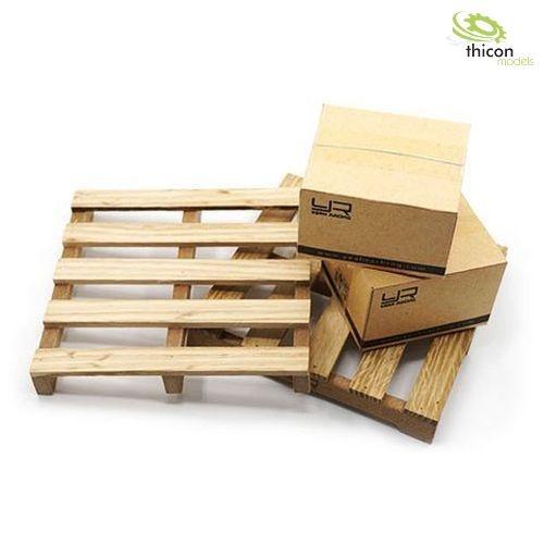 Holzpaletten mit Kartons  2Stück