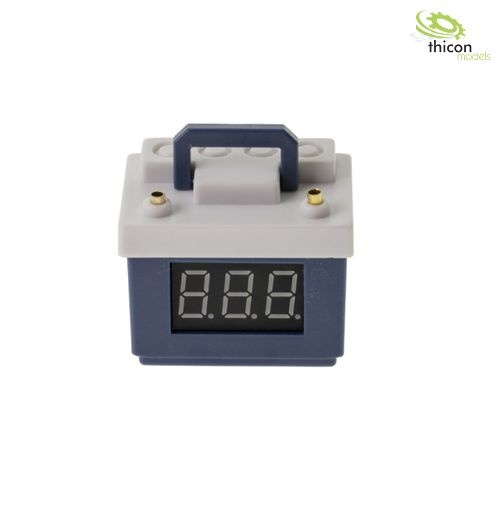Blue car battery with voltage display and lipo monitor