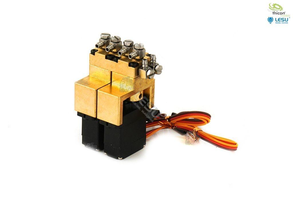Hydraulic control valve 2-way brass with 12mm mini servos