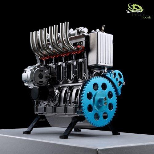 Engine 4-cylinder metal kit engine block in grey