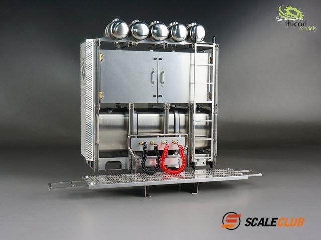 1:14 Schwerlastturm V8 Scania Edelstahl mit Türen unlackiert