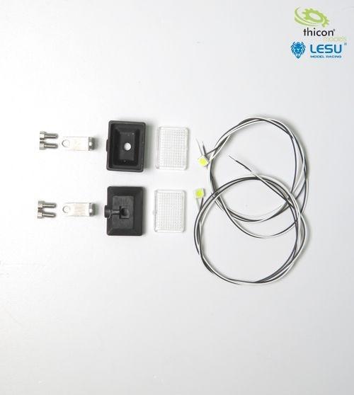 Headlight rectangle with LED white 1pcs