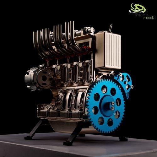 Engine 4-cylinder metal kit engine block in champagne
