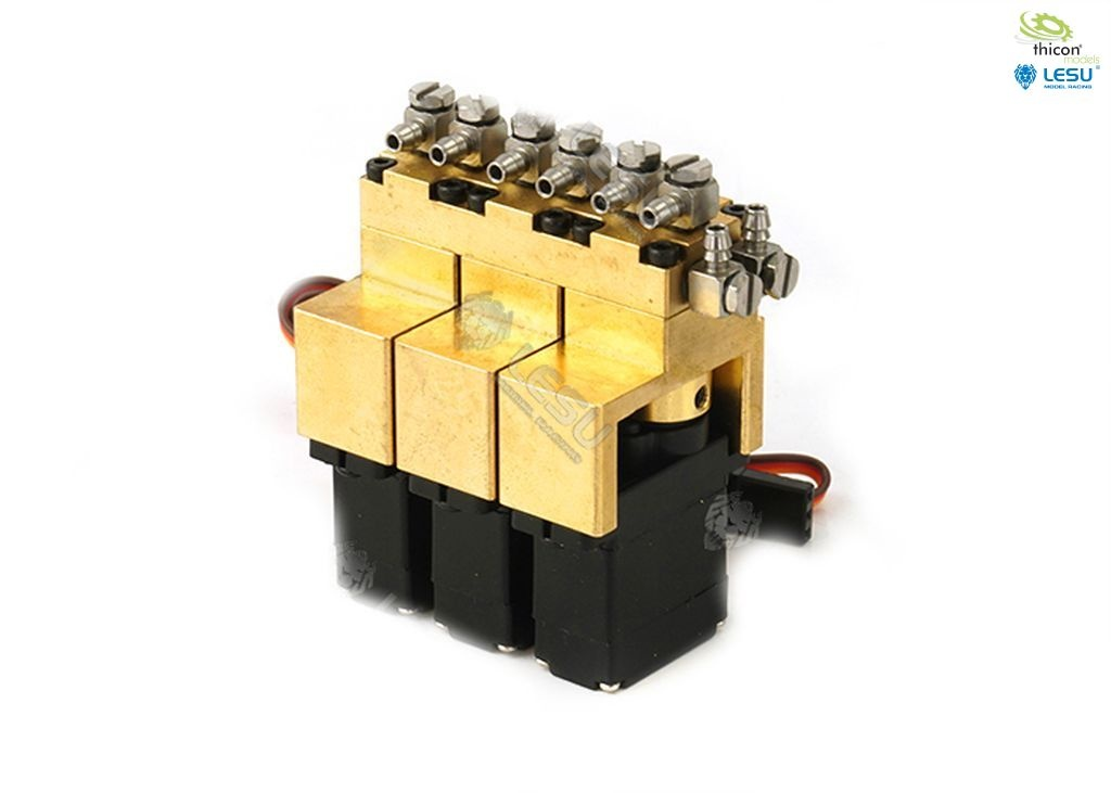 Hydraulic control valve 3-way brass with 12mm mini servos