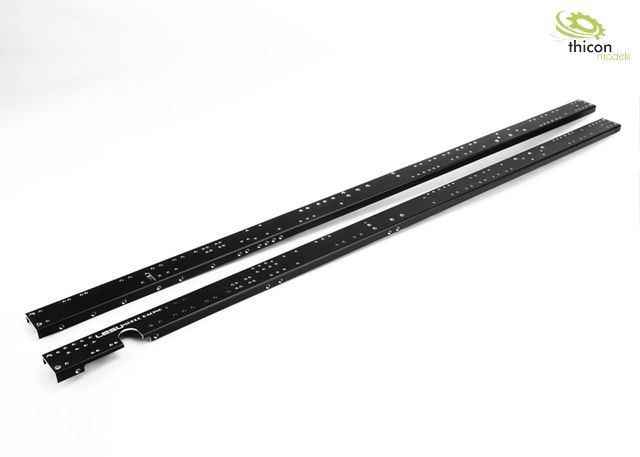 1:14 Rahmenprofil 3-Achs medium lang Alu schwarz mit Gewinde